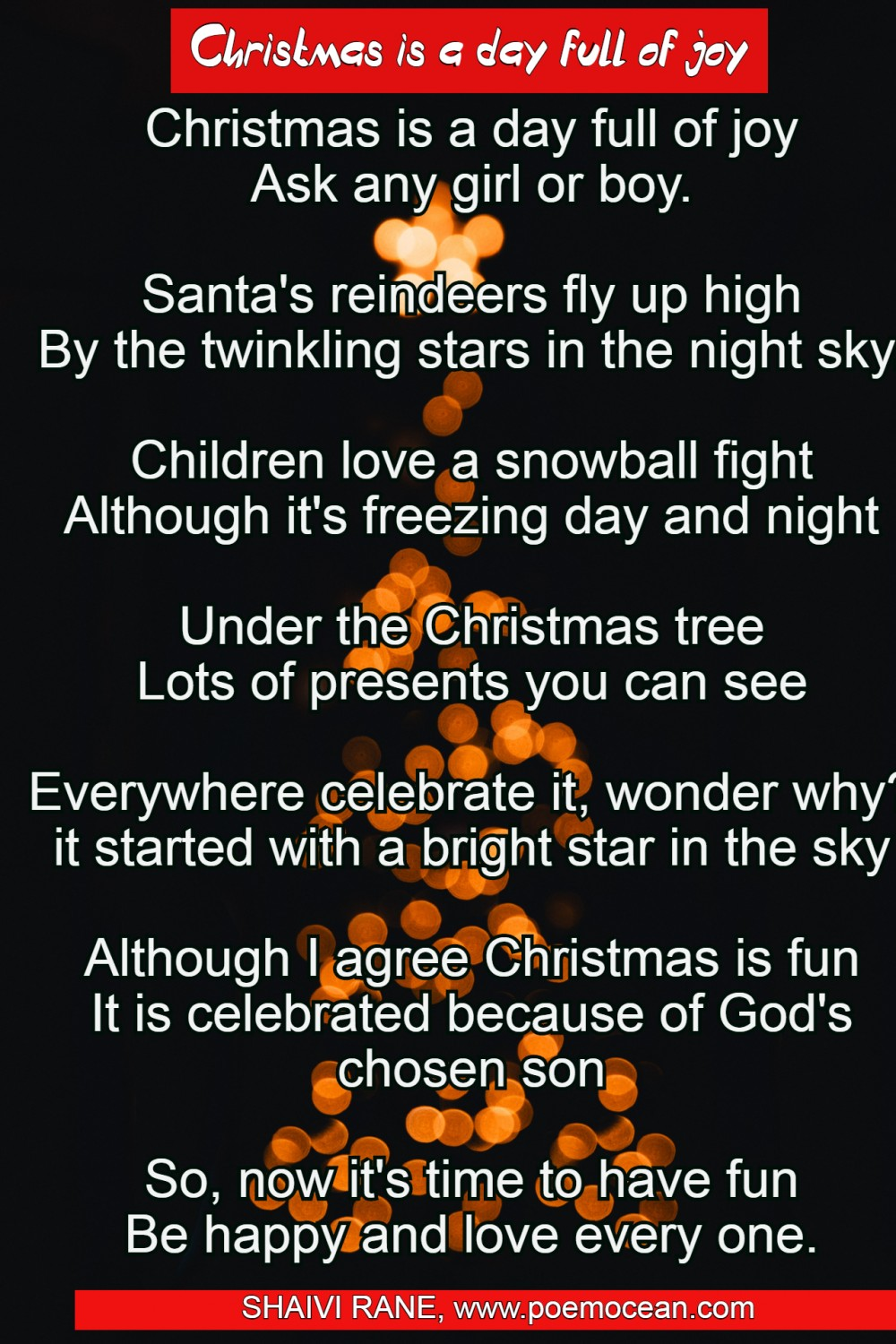 Christmas is a day full of joy   English Merry Christmas Poems ...